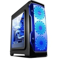 Segotep Halo ATX Mid-Tower Case, with 3 x Front 12CM Blue LED Fan (No PSU) - Black -, Front USB 3.0/2.0  & HD Audio