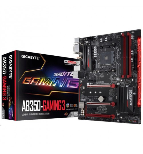 Gigabyte GA-AB350-Gaming 3 ATX For AMD Ryzen Socket AM4. AMD B350 Chipset, 4X DDR4-3200 M.2 SATA3,USB 3.1 HDMI DVI-D AMD CrossFire Support, Smart Fan 5 w/ 6 Temp Sensors & 4 Hybrid Fan