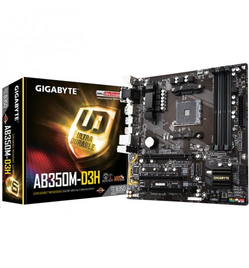Gigabyte GA-AB350M-D3H mATX For AMD Ryzen Socket AM4. AMD B350 Chipset 4X DDR4-3200 M.2 SATA3,USB 3.1 HDMI DVI-D VGA DP AMD CrossFire Support