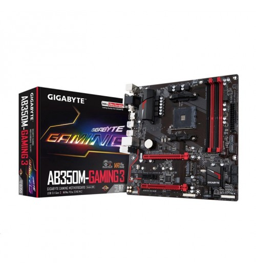 Gigabyte GA-AB350M-GAMING 3 mATX For AMD Ryzen Socket AM4. AMD B350 Chipset, 4x DDR4-3200, M.2 SATA3, USB3.1 - VGA DVI HDMI1.4