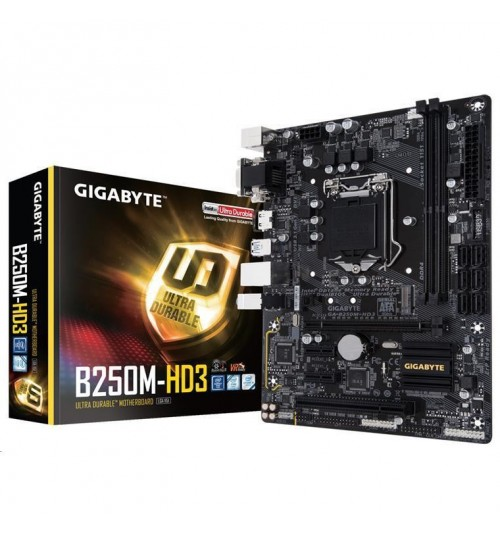 Gigabyte GA-B250M-HD3 mATX Form Factor 2x DDR4 up to 2400MHz, M.2  HDMI DVI-D VGA, SATA 6Gb/s USB 3.1 For Intel Kaby Lake LGA1151