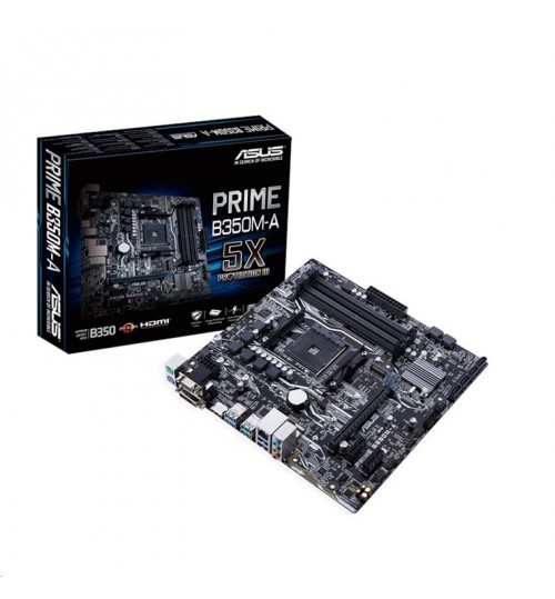 ASUS PRIME B350M-A mATX For AMD Ryzen Socket AM4, AMD B350 Chipset 4X DDR4-2666 M.2 SATA3, 6x USB 3.1 HDMI 1.4  VGA DVI
