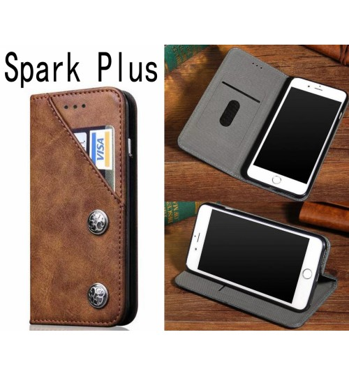 Spark Plus ultra slim retro leather wallet case 2 cards magnet