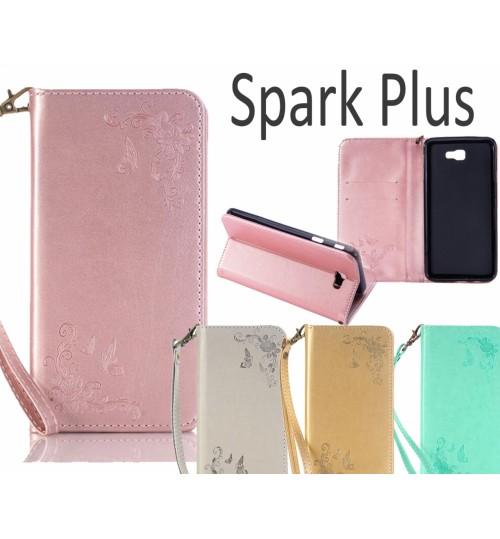 Spark Plus Premium Leather Embossing wallet Folio case
