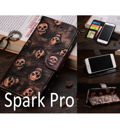Spark Pro Leather Wallet Case Cover