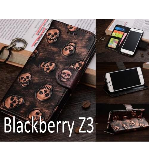 Blackberry Z3 Leather Wallet Case Cover