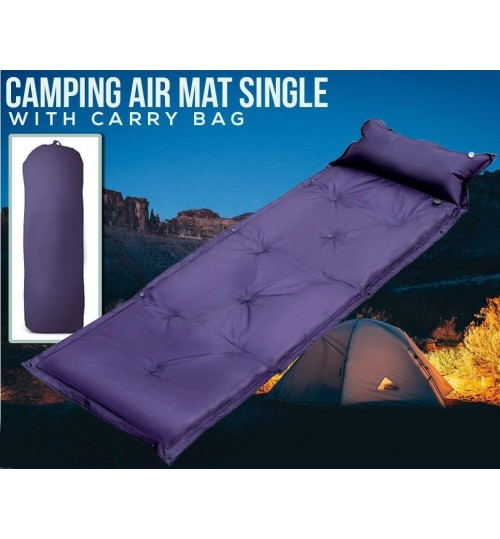 Self Inflating Single Mattress Air Bed Camping Backpack Pad With Carry Bag