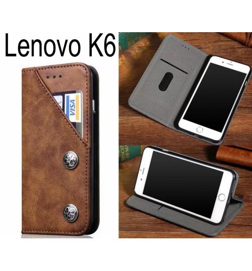 Lenovo K6 ultra slim retro leather wallet case 2 cards magnet