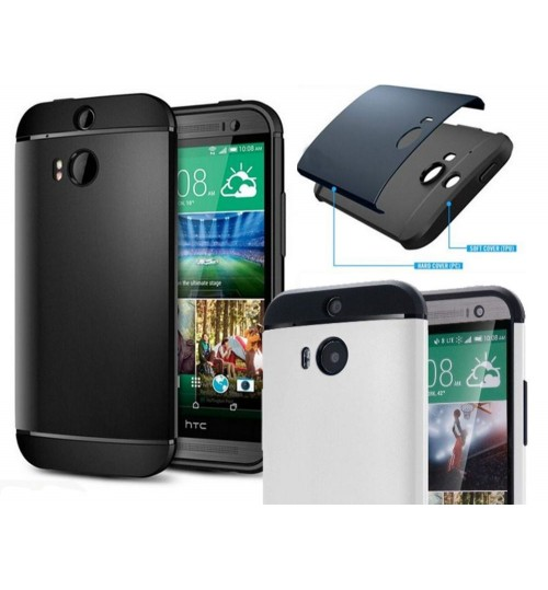 HTC M8 dual tone dual layer heavy duty slim case