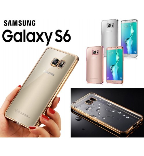 Samung Galaxy S6 case plating bumper with clear gel back cover case