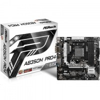 ASRock AB350M Pro4 mATX Form Factor For AMD Socket AM4, AMD Promontory B350 Chipset, 4x DDR4-3200 2x M.2 SATA3, USB3.0 TypeC VGA DVI HDM