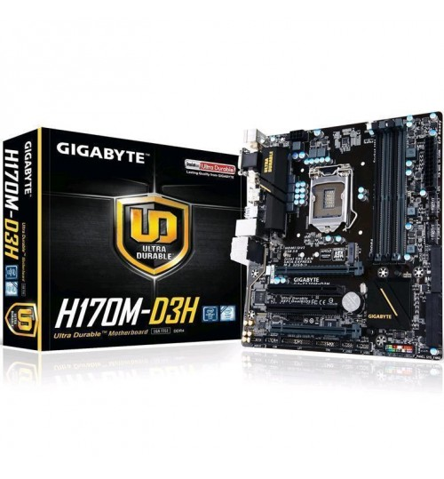 Gigabyte GA-H170M-D3H Intel H170 Chipset for LGA1151,mATX Form,4x DDR4 DIMM,VGA/DVI/HDMI,Lan,M.2 Socket 3 connector,SATA3,USB3,Support 2-Way AMD CrossFire