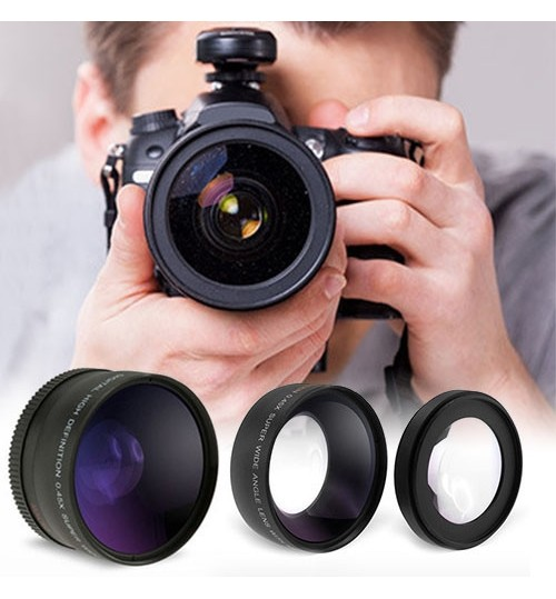 Wide Angle and Macro Lens Set for Cameras-58mm