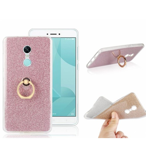 Redmi Note 4X Soft tpu Bling Kickstand Case with Ring Rotary Metal Mount