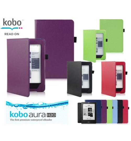 Kobo Aura H2O eReader Leather Book Cover Case