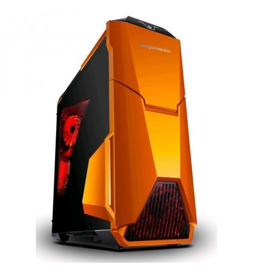 Segotep Warship EVO Full ATX Mid Tower Case with Front & Rear 12CM Red LED Fan (No PSU) - Orange & Black - Front USB 3.0/2.0  & HD Audio