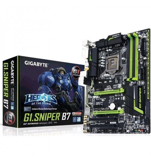 Gigabyte G1.Sniper B7  Intel B150 Chipset for LGA1151,ATX Form,4x DDR4 DIMM,DVI/HDMI,Lan, M.2 Connetor, SATA3,USB3,Support 2-Way AMD CrossFire