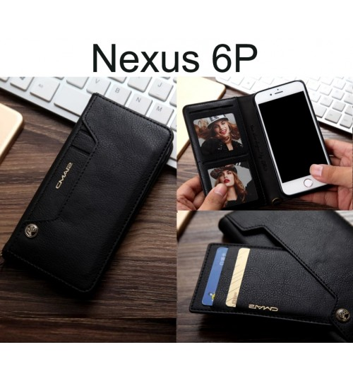 Nexus 6P CASE slim leather wallet case 6 cards 2 ID magnet