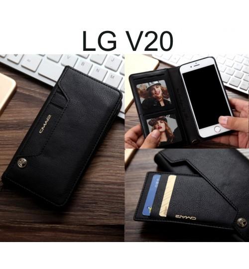 LG V20 CASE slim leather wallet case 6 cards 2 ID magnet