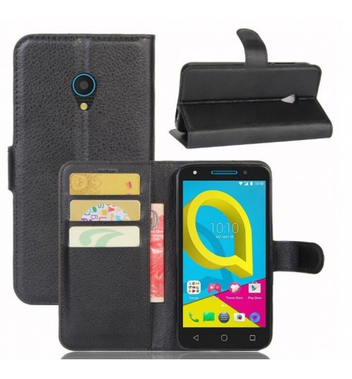 Alcatel U5 Case wallet leather case ID window combo