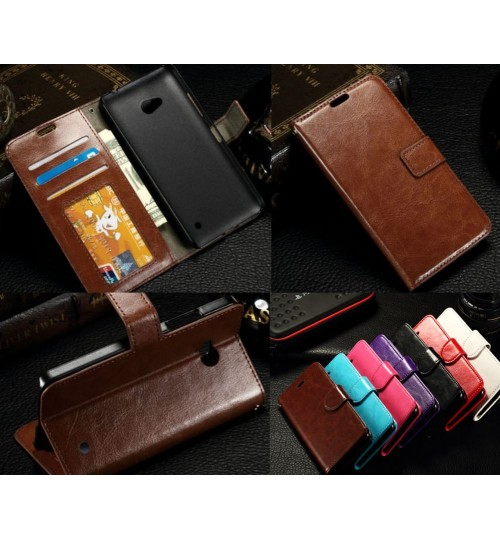 Lumia 640 vintage fine leather wallet case+Combo
