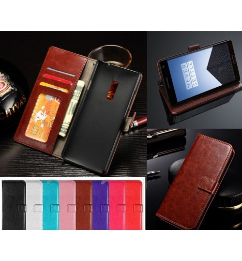 Oneplus two 2 vintage fine leather wallet case