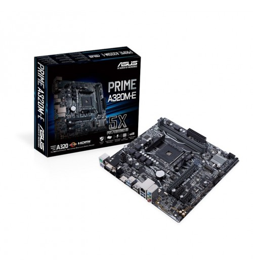 ASUS PRIME A320M-E mATX For AMD  Socket AM4 CPU, AMD A320 Chipset  2 X DDR4 DIMM, M.2, SATA3, USB 3.1 Gen2 Onboard, HDMI/ VGA/DVI