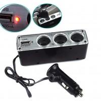Car Cigarette Lighter Multi Socket Splitter 3 Way USB Charger Port