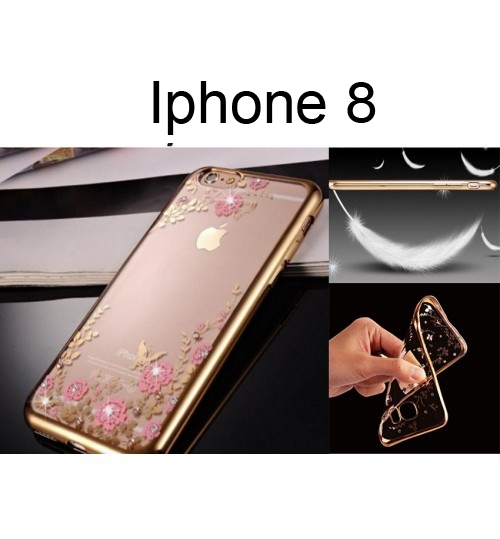 Iphone X  soft gel tpu case luxury bling shiny floral case