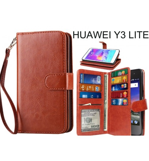 Huawei Y3 lite  Double Wallet leather case 9 Card Slots