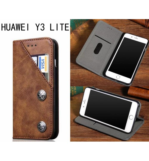 Huawei Y3 lite ultra slim retro leather wallet case 2 cards magnet