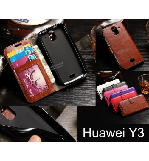 Huawei Y3 LITE vintage fine leather wallet case
