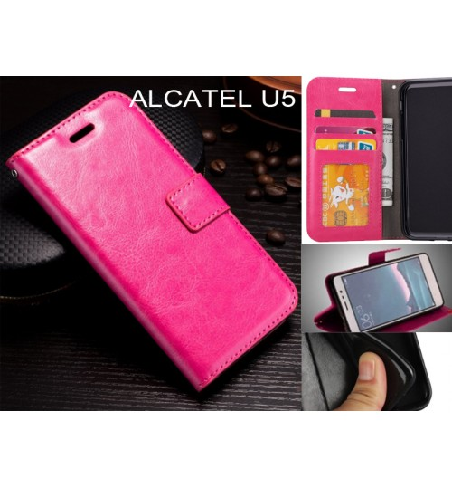 Alcatel U5  case Fine leather wallet case