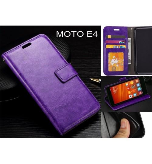 MOTO E4  case Fine leather wallet case