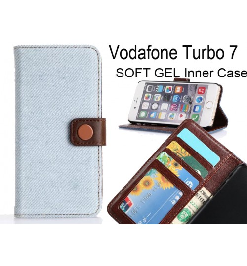 Vodafone Turbo 7 case ultra slim retro jeans wallet case