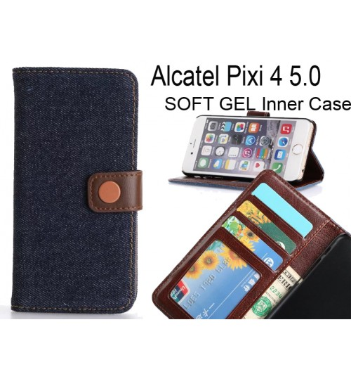 Alcatel Pixi 4 5.0 case ultra slim retro jeans wallet case