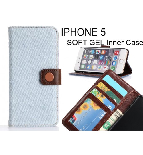 IPHONE 5 case ultra slim retro jeans wallet case
