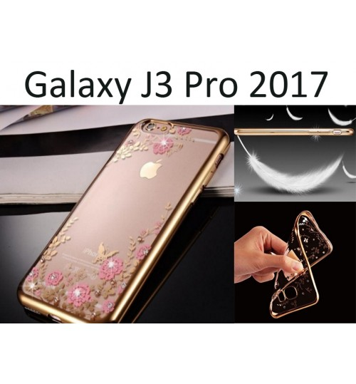 Galaxy J3 Pro 2017 soft gel tpu case luxury bling shiny floral case