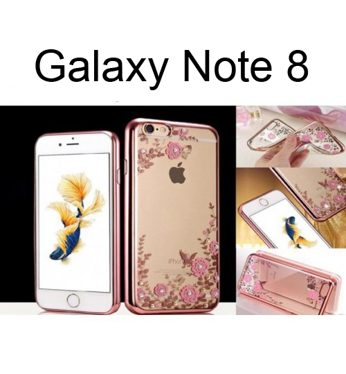 Samsung Galaxy  note 8 soft gel tpu case luxury bling shiny floral case