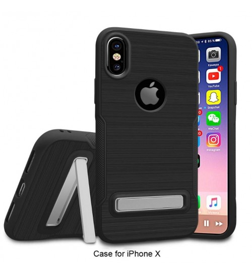 iPhone X Slim Armor Carbon Fiber Brushed TPU Soft Kickstand cover case