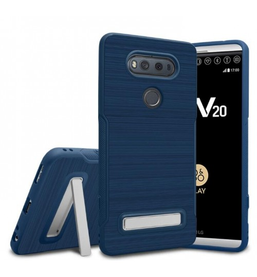 LG V20 Slim Armor Carbon Fiber Brushed TPU Soft Kickstand cover case