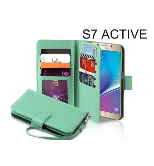 Galaxy S7 Active Case Double Wallet leather case 9 Card Slots