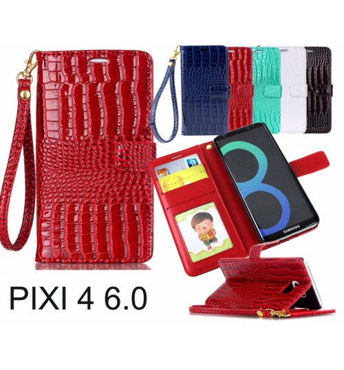 Alcatel Pixi 4 (6) CASE croco wallet Leather case