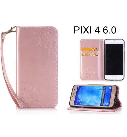 Alcatel Pixi 4 (6) CASE Premium Leather Embossing wallet Folio case