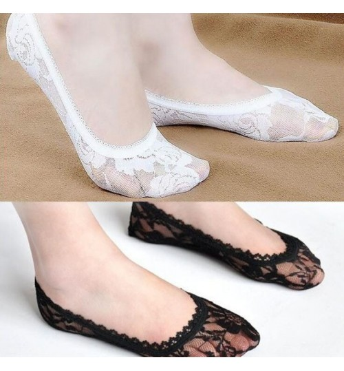 Womens Lace No Show Liner Socks Low Cut Line Socks