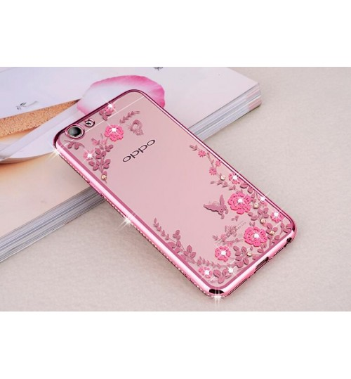 Oppo A77 case soft gel tpu case luxury bling shiny floral case
