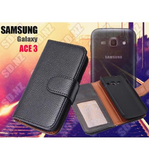 Galaxy Ace 3 S7272 wallet ID leather case+SP+PEN