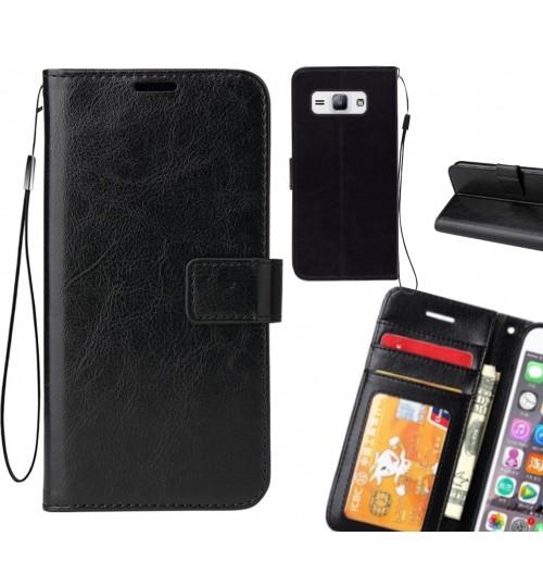 Galaxy J1 Ace  vintage fine leather wallet case+SP
