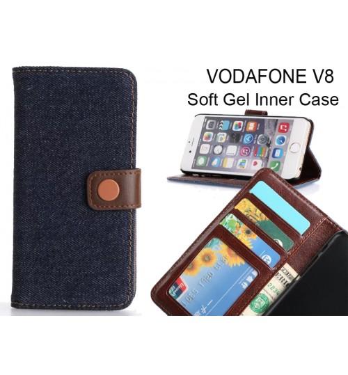 Vodafone V8  case ultra slim retro jeans wallet case