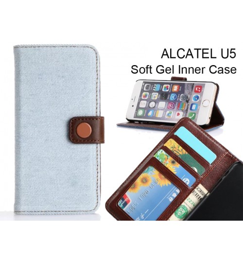 Alcatel U5  case ultra slim retro jeans wallet case